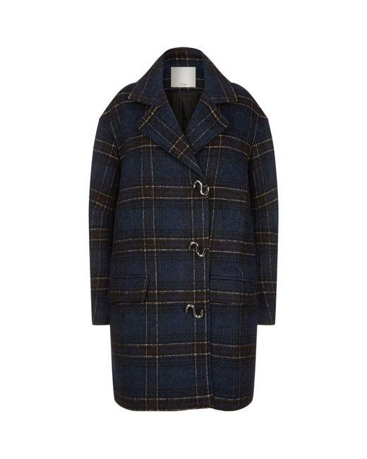 Tibi   Blue Dominic Plaid Coat   Lyst