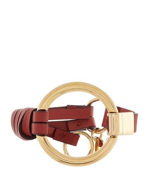 Chloé | Red Leather Circle Bracelet | Lyst
