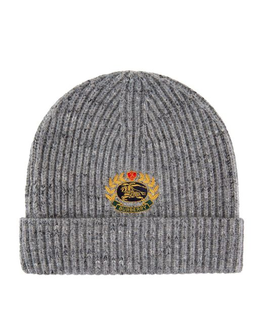 a0f35e2f315 Burberry Crest Embroidered Beanie Hat in Gray - Lyst