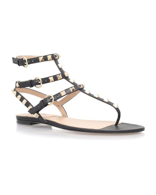 Valentino - Black Rockstud Leather Gladiator Sandal - Lyst
