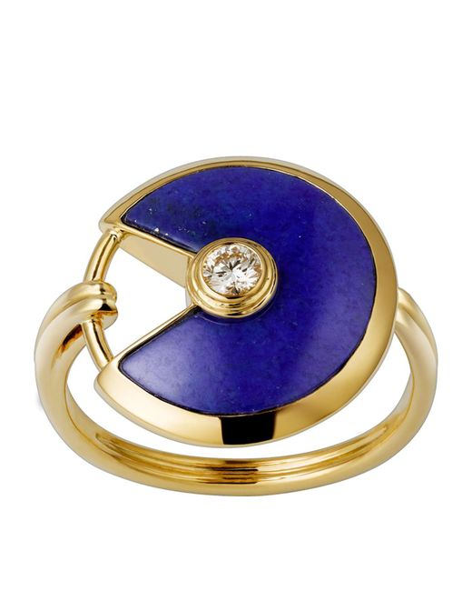 Cartier - Metallic Small Yellow Gold And Lapis Lazuli Amulette De Ring - Lyst
