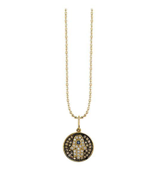 Sydney Evan | White Small Diamond Hamsa Medallion | Lyst