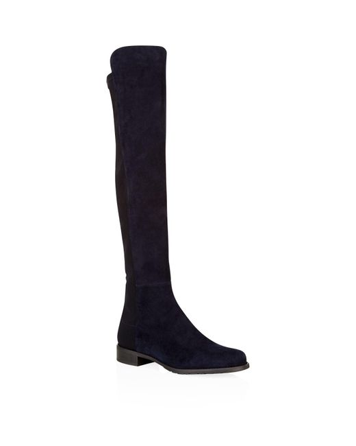 Stuart Weitzman - Blue 5050 Stretch Suede Over The Knee Boots - Lyst