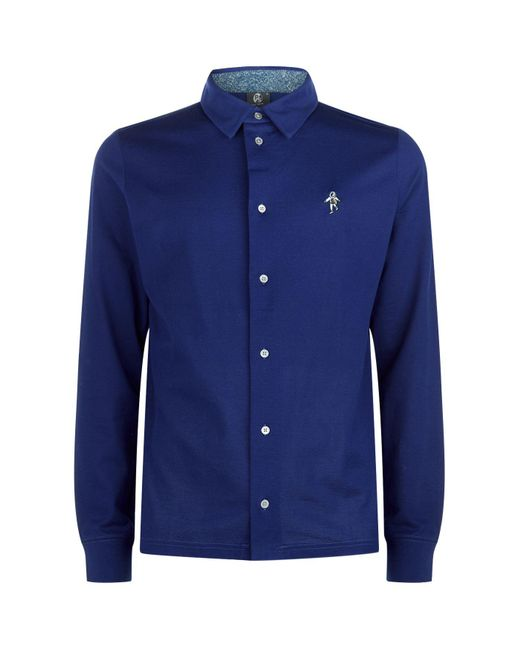 Paul Smith | Blue Spaceman Long-sleeved Polo Shirt for Men | Lyst