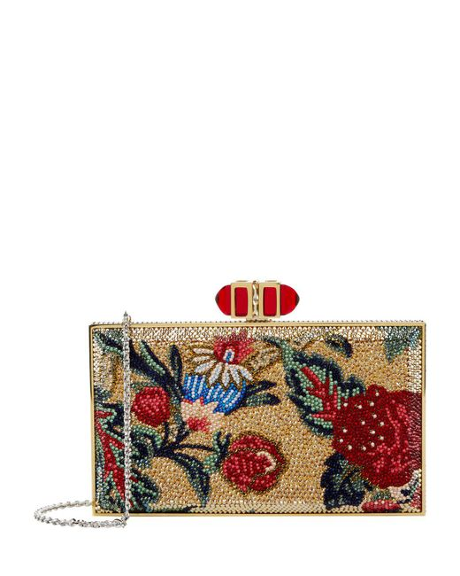 Judith Leiber - Red Floral Rectangle Clutch - Lyst