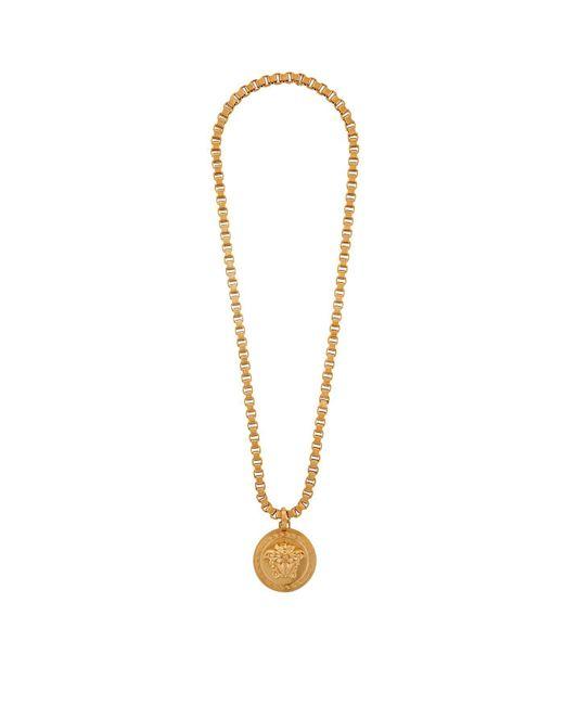 Versace   Black 3d Medusa Medallion Necklace   Lyst