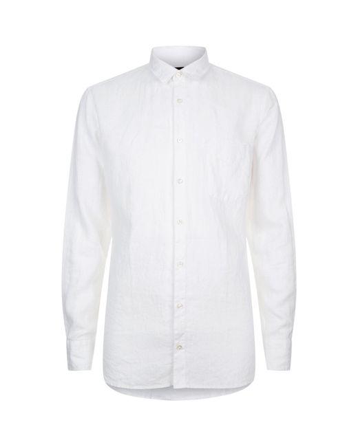 Lyst boss orange slim fit linen shirt in white for men for Slim fit white linen shirt