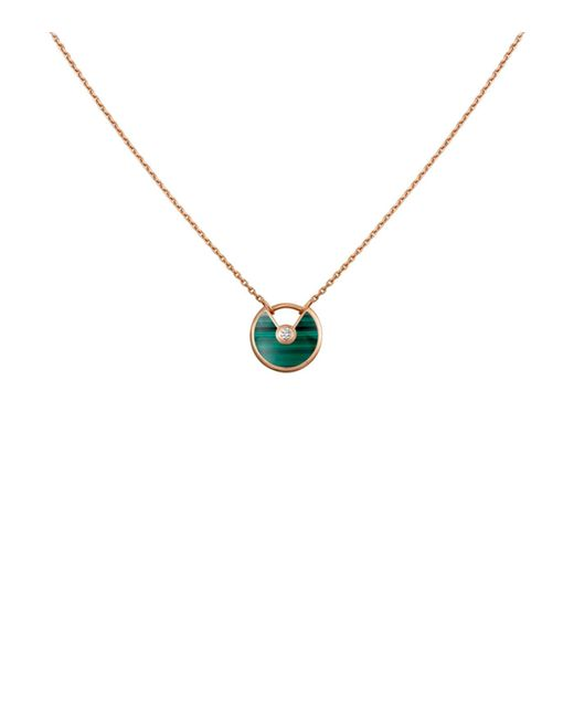 Cartier - Metallic Extra Small Pink Gold And Malachite Amulette De Necklace - Lyst