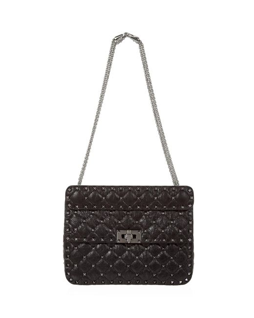 Valentino - Black Medium Crinkled Leather Rockstud Spike Shoulder Bag - Lyst
