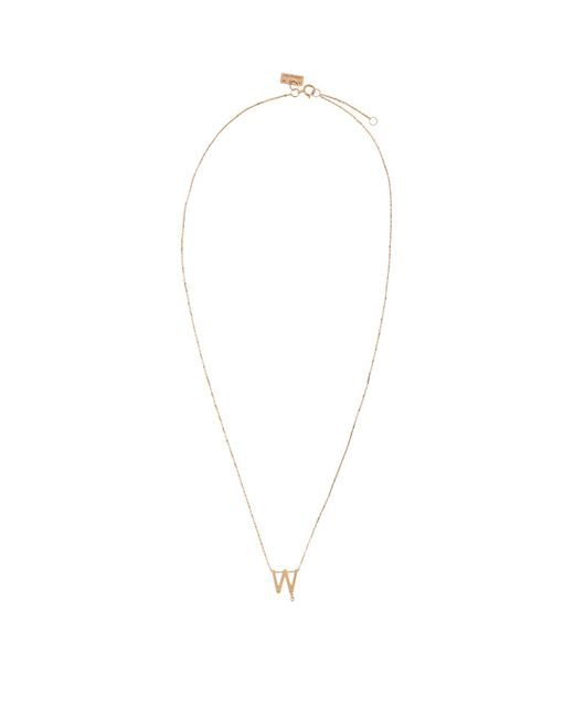 Vanrycke - Metallic Rose Gold And Diamond Abcdaire Letter W Necklace - Lyst