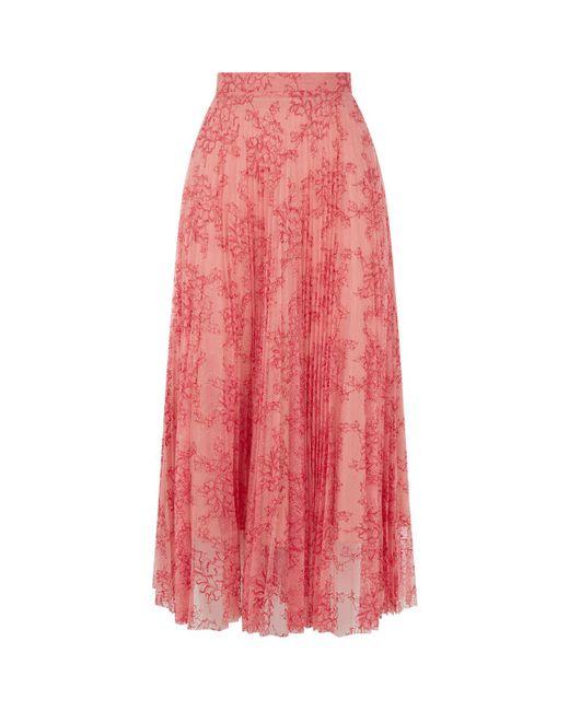 Burberry - Orange Pleated Lace Midi Skirt - Lyst