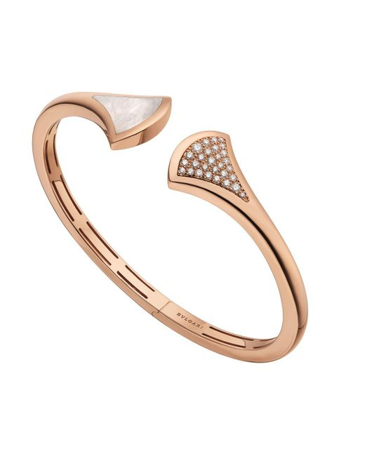 BVLGARI - Metallic Rose Gold Mother-of-pearl And Diamond Divas' Dream Cuff Bracelet - Lyst