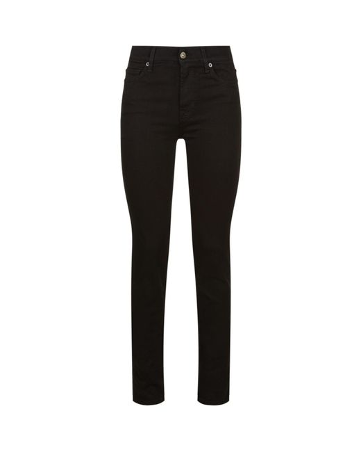 7 For All Mankind - Black Rozie High Waist Slim Jeans - Lyst