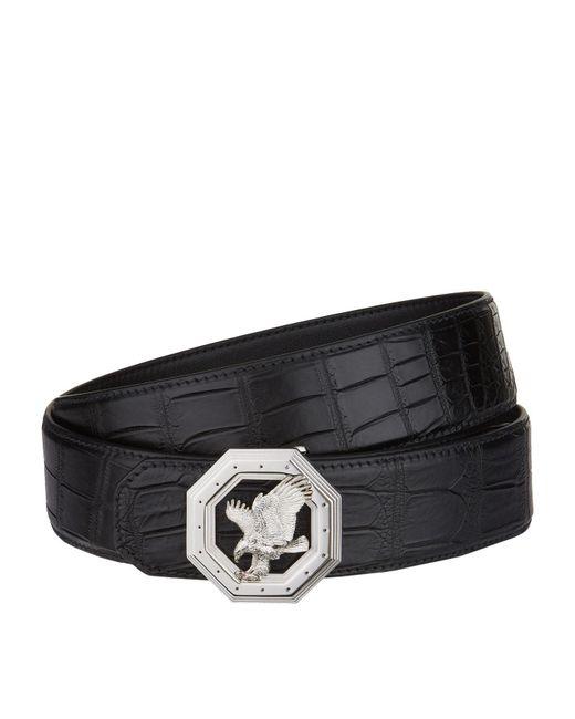 Stefano Ricci | Black Flying Eagle Octagon Buckle Croc Belt for Men | Lyst