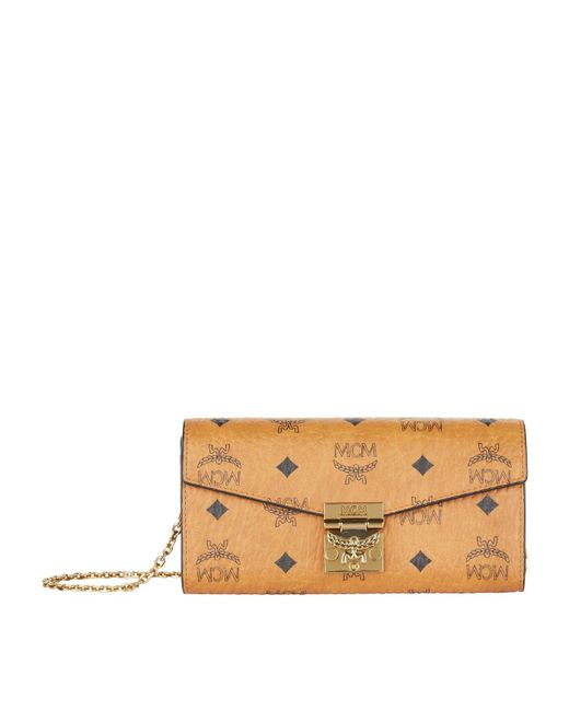 MCM Brown Patricia Bifold Chain Wallet