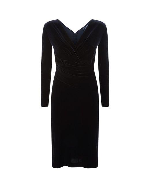 Emporio Armani - Black Velvet Wrap Dress - Lyst