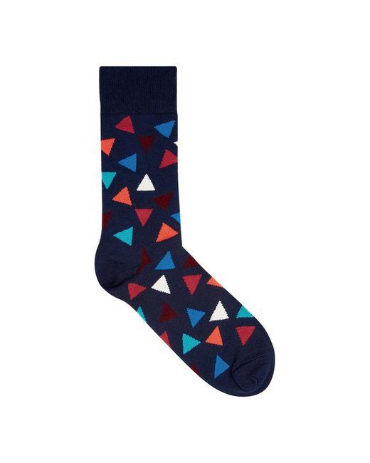 Happy Socks - Blue Triangle Navy Cotton Blend Socks for Men - Lyst