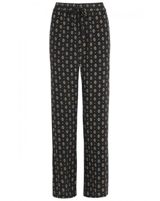 Joie | Black Florencia Printed Silk Trousers | Lyst