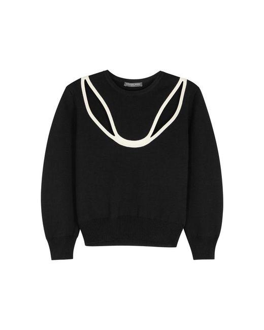 Alexander McQueen - Black Cut-out Wool-blend Jumper - Lyst