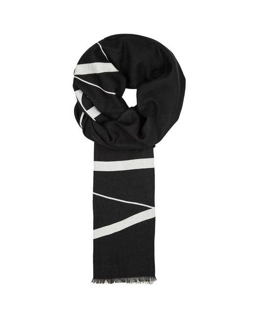 0fa7338cd Valentino Vltn-intarsia Monochrome Wool Scarf in Black for Men - Lyst