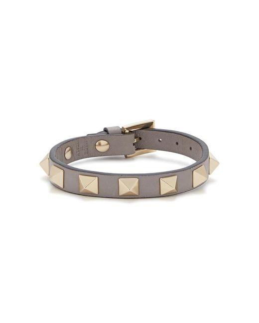Valentino - Gray Rockstud Grey Leather Bracelet - Lyst