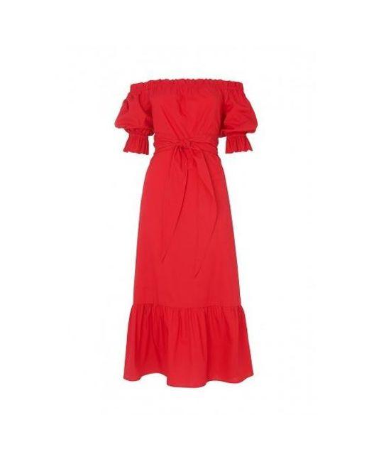 Kitri - Cora Red Bardot Dress - Lyst