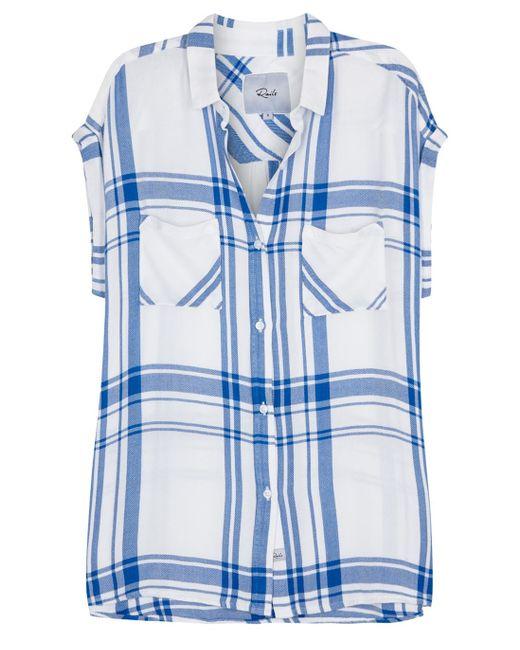 Rails Britt White Plaid Flannel Shirt In Blue White And