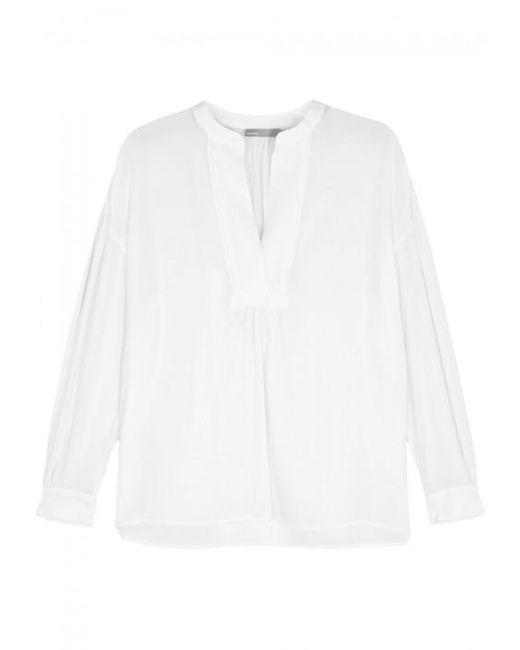 Vince   White Garment-dyed Silk Blouse   Lyst