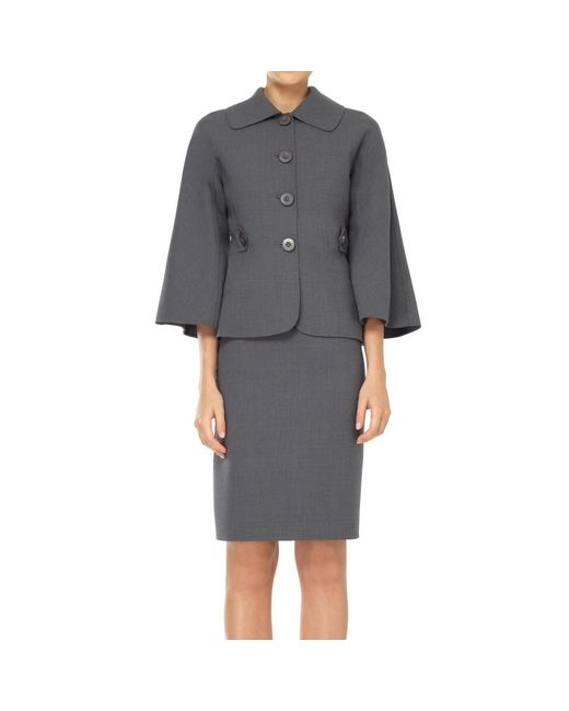 Max Studio - Gray Bell Sleeved Fitted Jacket - Lyst