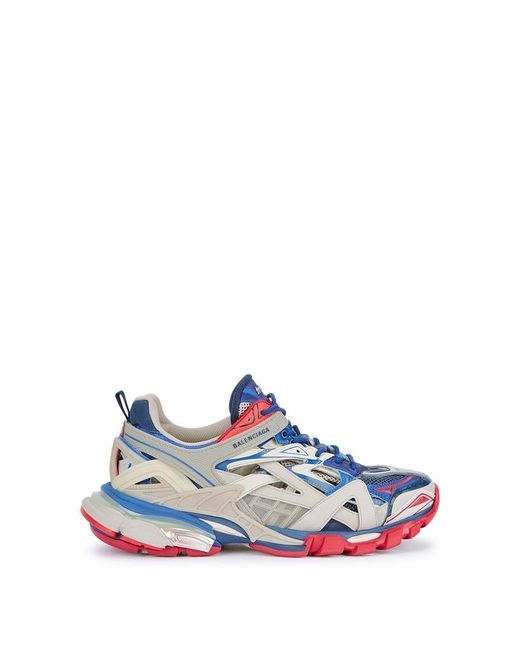 Balenciaga Beige And Blue Track 2 Sneakers for men