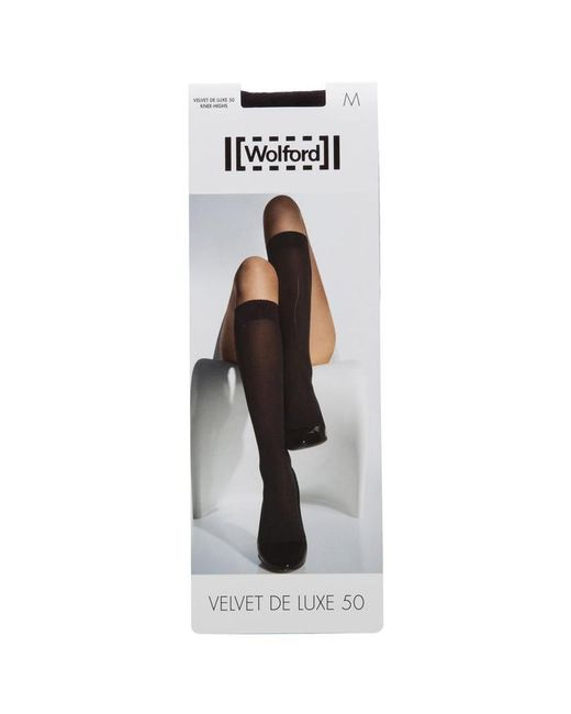 Wolford - Black Velvet De Luxe Knee High Socks - Size S - Lyst