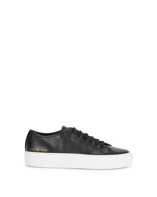 Common Projects - Tournament Black Leather Trainers - Lyst