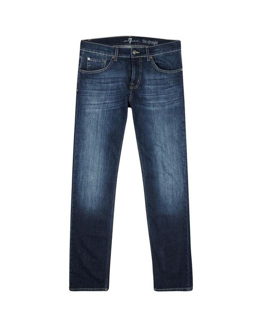 7 For All Mankind - Standard Blue Straight-leg Jeans - Size W32 for Men - Lyst