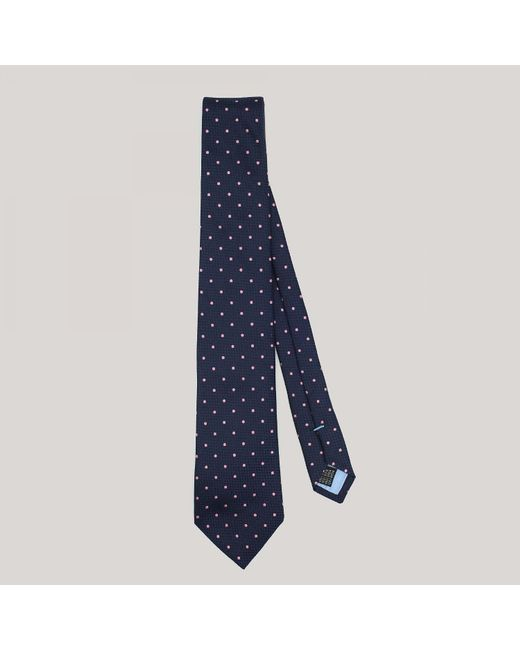 Harvie and Hudson - Blue Navy With Pink Spot Woven Silk Tie for Men - Lyst