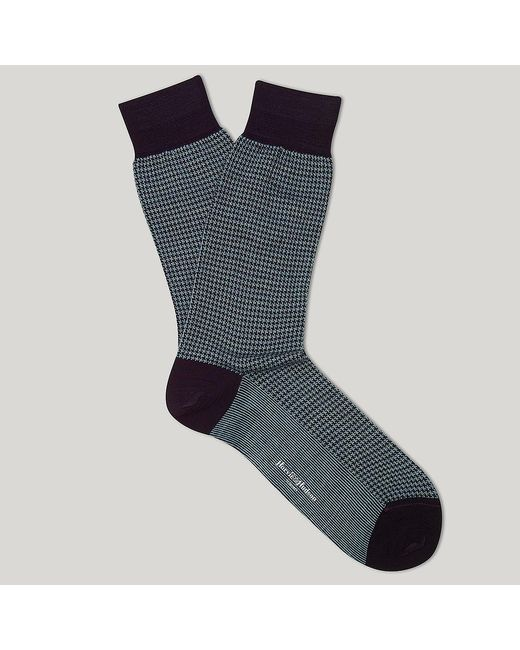 Harvie and Hudson   Purple And Sky Houndstooth Merino Mix Sock for Men   Lyst