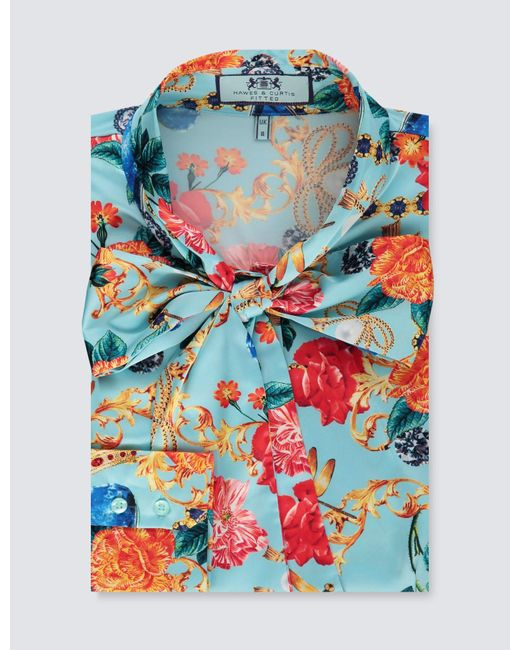 e5dea0d6d5f4a6 Hawes & Curtis - Blue & Red Bejewelled Floral Print Fitted Satin Blouse -  Lyst