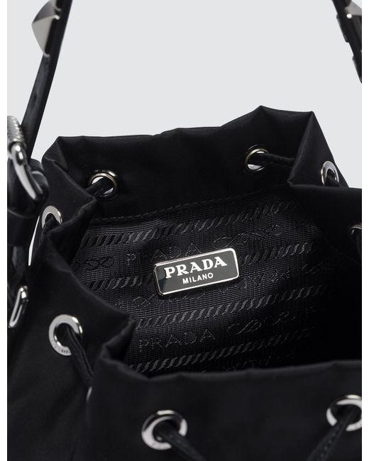 11f8f841054f Prada - Black Nylon Studded Bucket Bag - Lyst ...