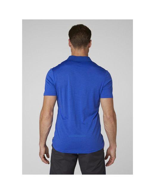 3faead9b ... Helly Hansen - Blue Hh Merino Light Ss Polo for Men - Lyst