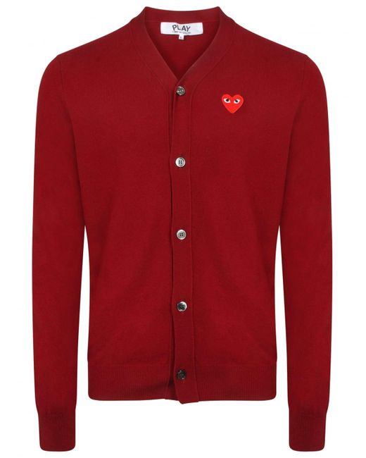 Comme des Garçons | Play Red Heart Cardigan Burgundy for Men | Lyst