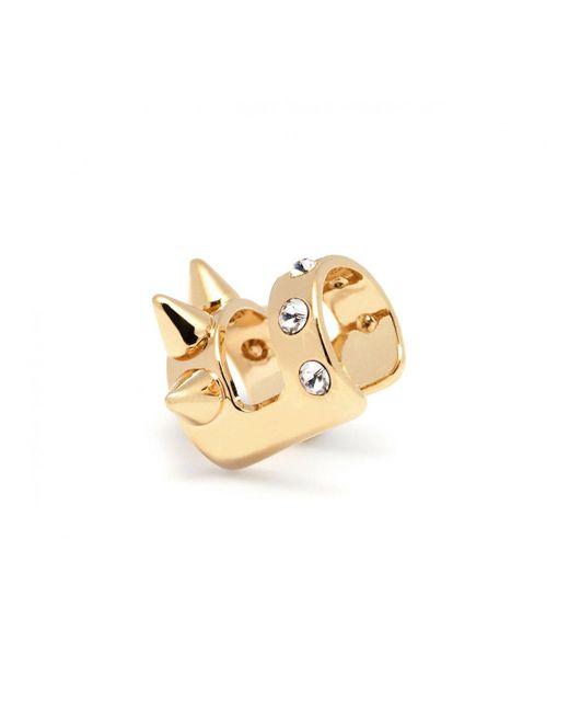 Maria Francesca Pepe | Metallic Crystal Spike Double Band Ear Cuff Gold | Lyst
