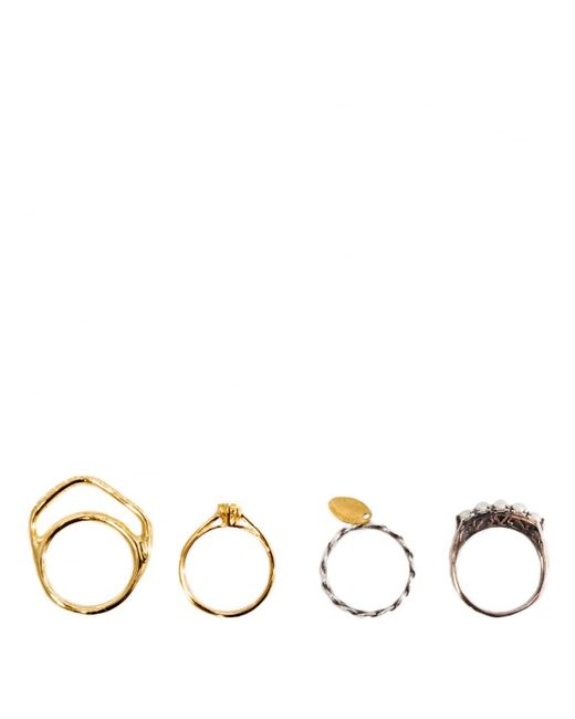 Iosselliani - Metallic Set Of Four Plated Stacked Rings Silver - Lyst
