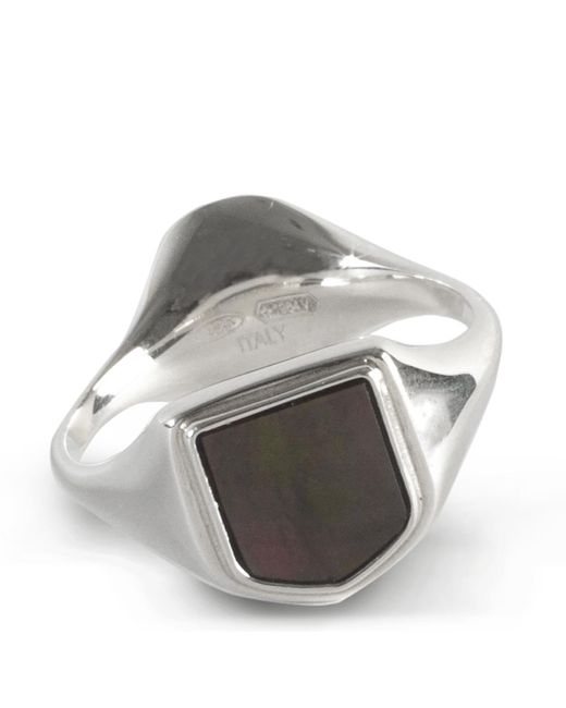 Maison Margiela Metallic Mother Of Pearl Double Signet Ring L for men