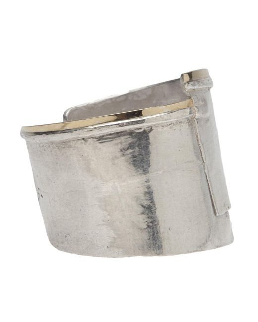1-100 | Metallic Silver Cuff With Layered Gold Trim | Lyst
