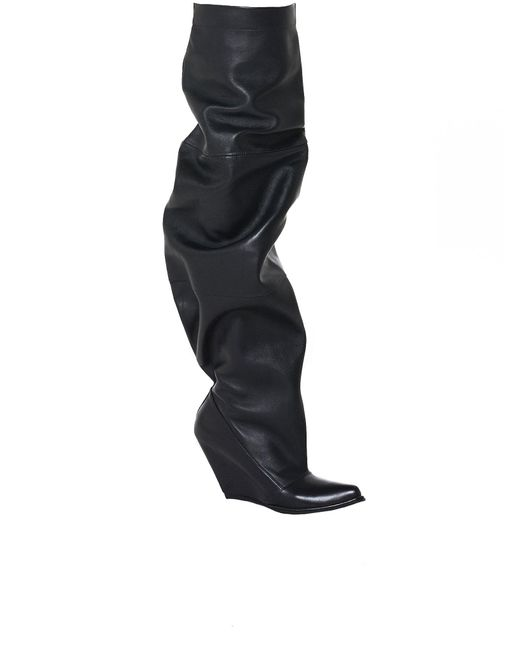 Unravel - Black Distorted Leather Boot - Lyst