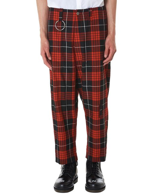 Kidill - Red Cropped Check Trouser for Men - Lyst