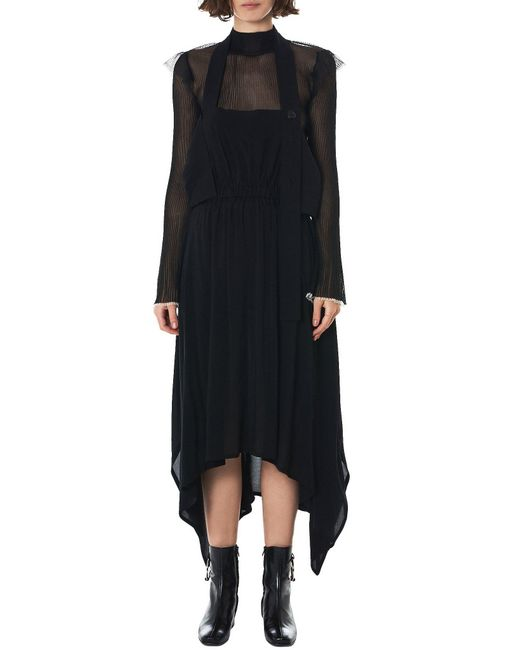 NOCTURNE#22 - Black Adjustable Handkerchief Hem Dress - Lyst