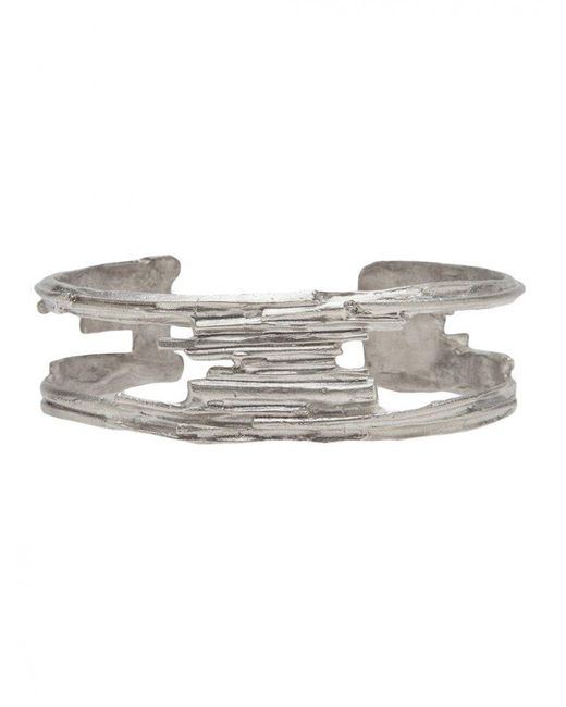 1-100 - Metallic Sterling Silver Cut Out Cuff (m) for Men - Lyst