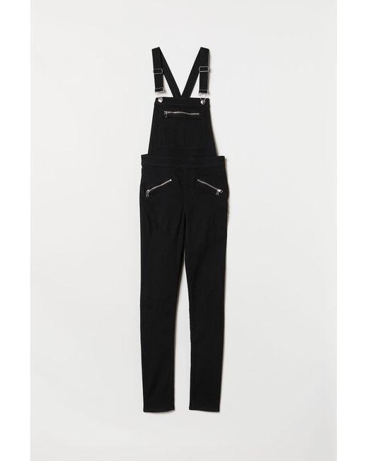 H&M - Black Twill Bib Overalls - Lyst