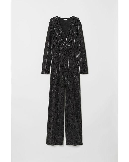 H&M - Black Glittery Jumpsuit - Lyst