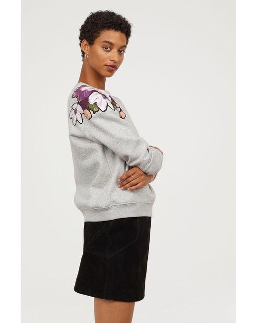 273c7141 Lyst - H&M + Sweatshirt With Motifs in Gray - Save 23.07692307692308%